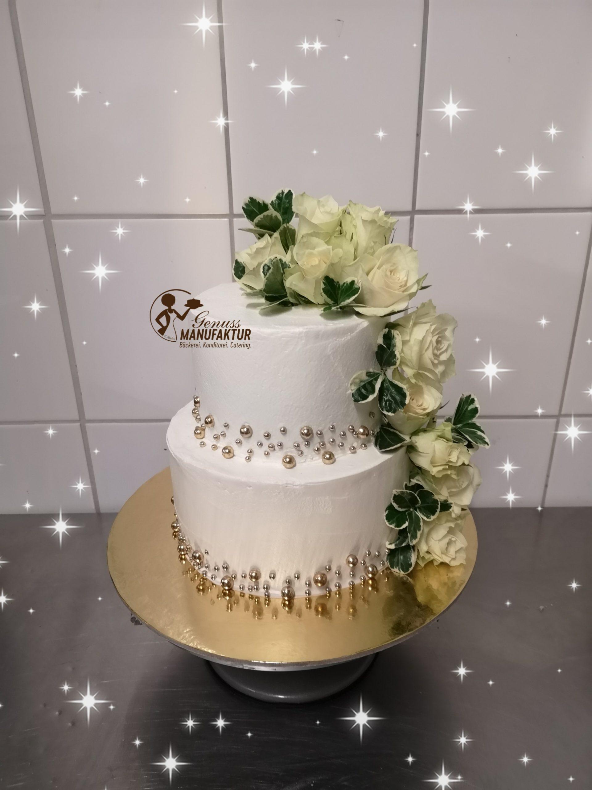 Hochzeitstorte Perlen Gold